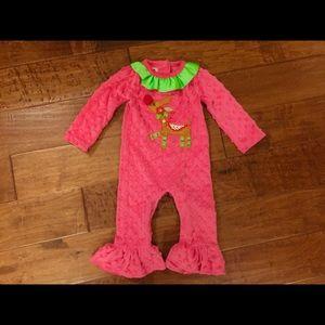 Mudpie pink Minkie dot reindeer holiday romper